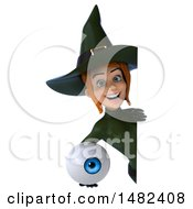 Clipart Of A 3d Sexy Green Witch Holding An Eyeball On A White Background Royalty Free Illustration