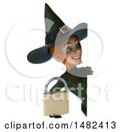 Clipart Of A 3d Sexy Green Witch Holding A Padlock On A White Background Royalty Free Illustration