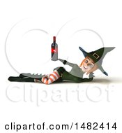 Clipart Of A 3d Sexy Green Witch Holding A Wine Bottle On A White Background Royalty Free Illustration