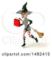Clipart Of A 3d Sexy Green Witch Holding A Shopping Bag On A White Background Royalty Free Illustration