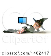 Clipart Of A 3d Sexy Green Witch Holding A Tablet Computer On A White Background Royalty Free Illustration