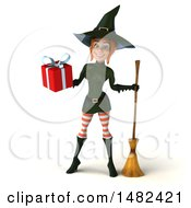 Clipart Of A 3d Sexy Green Witch Holding A Gift On A White Background Royalty Free Illustration