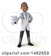 Clipart Of A 3d Young Black Male Doctor Or Dentist On A White Background Royalty Free Illustration by Julos