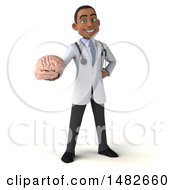 3d Young Black Male Doctor Or Brain Surgeon On A White Background