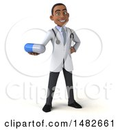 Clipart Of A 3d Young Black Male Doctor Or Pharmacist On A White Background Royalty Free Illustration by Julos