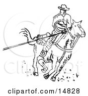 Roper Cowboy On A Horse Using A Lasso To Catch A Cow Or Horse Clipart Illustration by Andy Nortnik