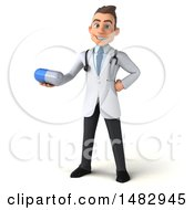 Clipart Of A 3d White Male Doctor On A White Background Royalty Free Illustration by Julos