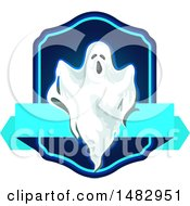 Clipart Of A Halloween Ghost Label Or Logo Royalty Free Vector Illustration by Vector Tradition SM