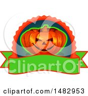 Clipart Of A Halloween Jackolantern Logo Or Label Design Royalty Free Vector Illustration by Vector Tradition SM