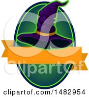 Poster, Art Print Of Halloween Witch Hat Label Or Logo