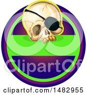 Poster, Art Print Of Halloween Skull Label Or Logo