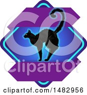 Poster, Art Print Of Halloween Black Cat Label Or Logo