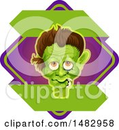 Clipart Of A Halloween Frankenstein Label Or Logo Royalty Free Vector Illustration by Vector Tradition SM