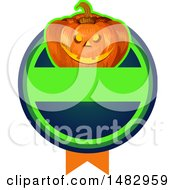 Poster, Art Print Of Halloween Jackolantern Logo Or Label Design