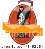 Clipart Of A Halloween Skeleton Grim Reaper Label Or Logo Royalty Free Vector Illustration by Vector Tradition SM