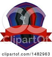 Poster, Art Print Of Halloween Vampire Coffin Label Or Logo