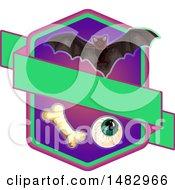 Poster, Art Print Of Halloween Vampire Bat Eyeball And Bone Label Or Logo