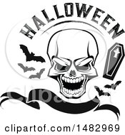Clipart Of A Skull With Halloween Text Bats And A Coffin Over A Banner Royalty Free Vector Illustration