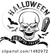 Skull With Halloween Text Bats And A Coffin Over A Trick Or Treat Banner