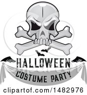Skull And Crossbones With Bats And A Costume Party Banner