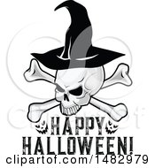Halloween Skull Wearing A Witch Hat Over Happy Halloween Text