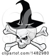 Halloween Skull And Crossbones Wearing A Witch Hat