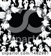 Clipart Of A Halloween Ghost Border Royalty Free Vector Illustration by Vector Tradition SM