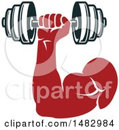 Clipart Of A Bodybuilders Arm Working Out With A Dumbbell Royalty Free Vector Illustration