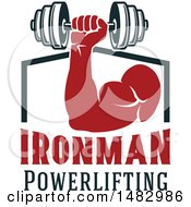 Clipart Of A Bodybuilders Arm Working Out With A Dumbbell Over Ironman Powerlifting Text Royalty Free Vector Illustration