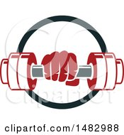 Clipart Of A Hand Holding A Dumbbell In A Circle Royalty Free Vector Illustration by Vector Tradition SM