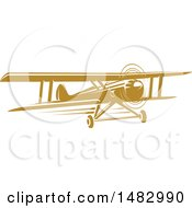 Clipart Of A Tan Biplane Design Royalty Free Vector Illustration