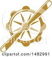 Clipart Of A Tan Airplane Propeller Design Royalty Free Vector Illustration
