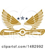 Clipart Of A Tan Airplane Propeller And Wings Design Royalty Free Vector Illustration