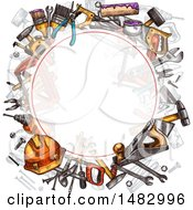 Clipart Of A Round Frame With Sketched Tools Royalty Free Vector Illustration by Vector Tradition SM