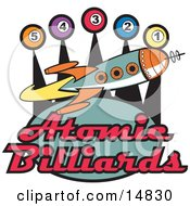 Space Rocket Flying Past Pool Balls On A Vintage Atomic Billiards Sign Clipart Illustration