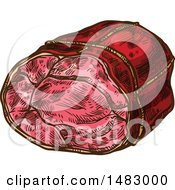 Clipart Of Sketched Red Meat Royalty Free Vector Illustration by Vector Tradition SM