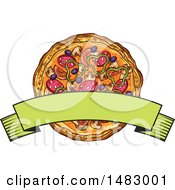 Clipart Of A Sketched Banner Over A Pizza Royalty Free Vector Illustration by Vector Tradition SM