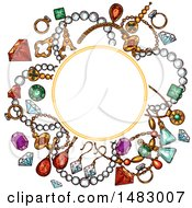 Clipart Of A Sketched Gems And Jewelry Design With A Frame Royalty Free Vector Illustration by Vector Tradition SM