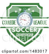 Clipart Of A Soccer Stopwatch And Shield Design Royalty Free Vector Illustration by Vector Tradition SM