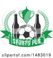 Soccer Ball Trophy And Beer Bottle Sports Pub Design
