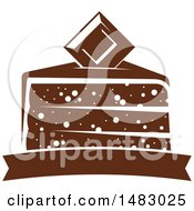 Clipart Of A Milk Chocolate Square And Slice Of Cake Over A Banner Royalty Free Vector Illustration by Vector Tradition SM
