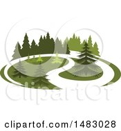 Clipart Of A Green Landscape With Evergreen Trees Royalty Free Vector Illustration by Vector Tradition SM