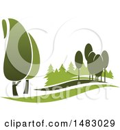 Clipart Of A Green Landscape With Trees Royalty Free Vector Illustration by Vector Tradition SM