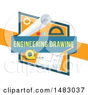 Clipart Of A Blueprints Engineering Drawing Design Royalty Free Vector Illustration by Vector Tradition SM