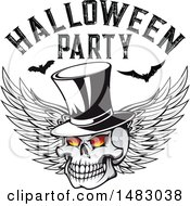 Winged Skull With Halloween Party Text