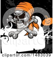 Clipart Of A Pirate Skull And Crossbones Over A Frame And Grunge With A Jackolantern Royalty Free Vector Illustration