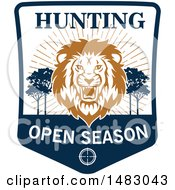 Clipart Of A Roaring Male Lion Hunting Open Season Shield Royalty Free Vector Illustration