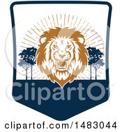 Clipart Of A Roaring Male Lion Shield Royalty Free Vector Illustration