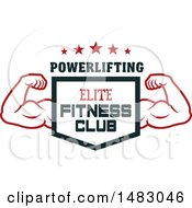 Clipart Of A Bodybuilders Arms Flexing Around A Shield With Elite Fitness Club Text Royalty Free Vector Illustration