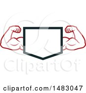 Clipart Of A Bodybuilders Arms Flexing Around A Shield Royalty Free Vector Illustration